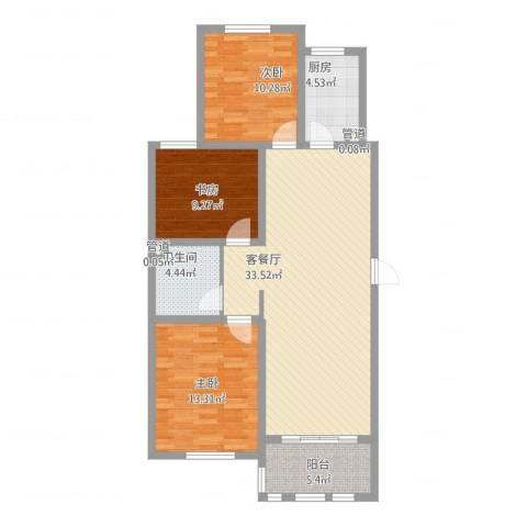 德仁・翡翠城3室2厅2卫2厨116.00㎡户型图
