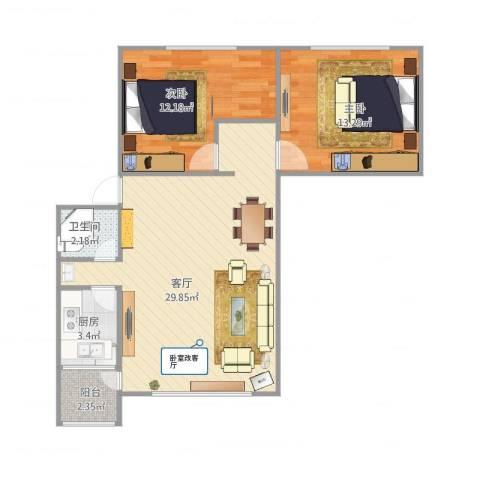 六里桥小区2室1厅1卫1厨85.00㎡户型图