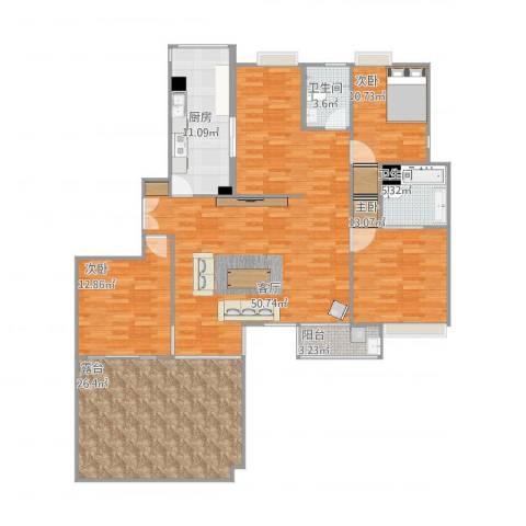 康桥半岛城中花园3室1厅2卫1厨184.00㎡户型图