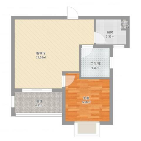 绿地21城D区公寓1室2厅1卫1厨65.00㎡户型图