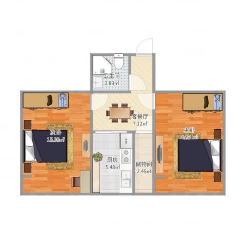 叙丰里2室2厅1卫1厨67.00㎡户型图