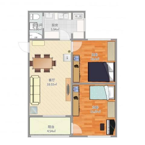 包家巷127号院2室1厅1卫1厨72.00㎡户型图
