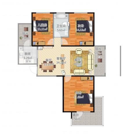 盟科涵舍3室2厅1卫1厨135.00㎡户型图