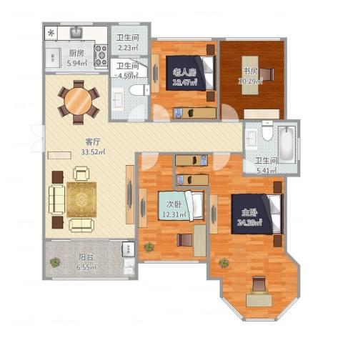 中南锦城4室1厅3卫1厨156.00㎡户型图