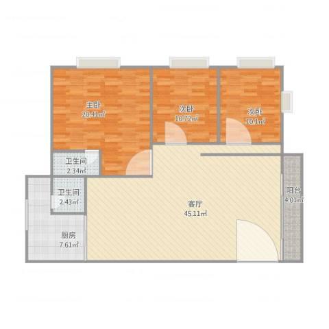 鸿图大厦2座7楼3室1厅2卫1厨138.00㎡户型图