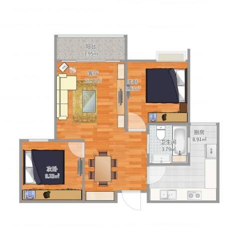 联心嘉园2室1厅1卫1厨80.00㎡户型图