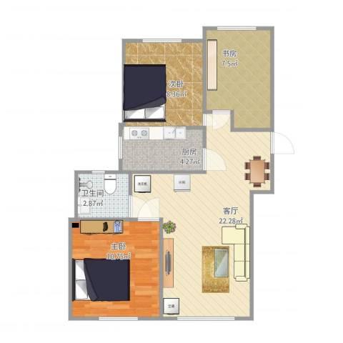 康泽佳苑3室1厅1卫1厨76.00㎡户型图