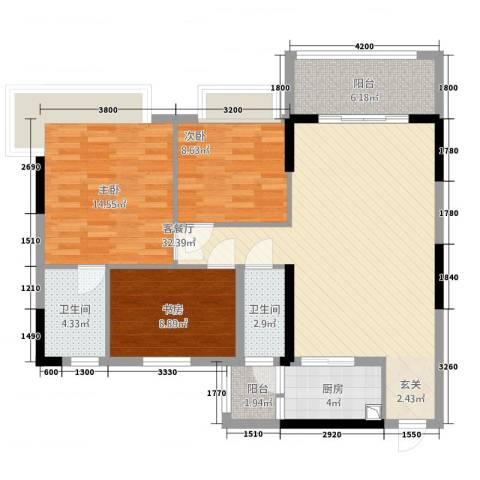 华英城三期3室2厅2卫1厨90.00㎡户型图