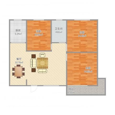 侨福城3室1厅1卫1厨119.00㎡户型图