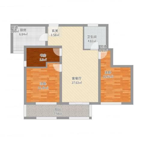 万科金色家园3室2厅1卫1厨113.00㎡户型图