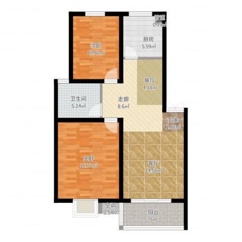旺运花园2室2厅1卫1厨104.00㎡户型图