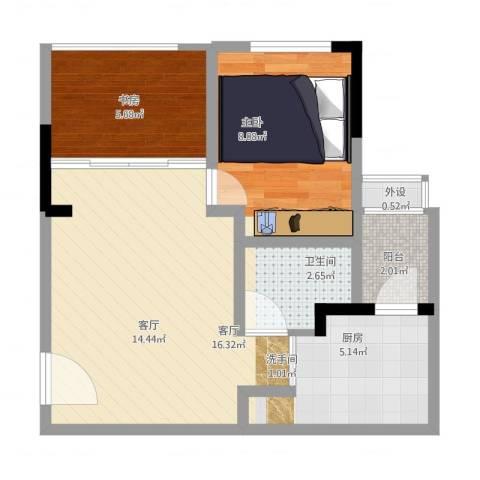 欣光松宿2室1厅1卫1厨59.00㎡户型图