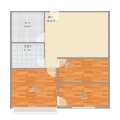 福建农林大学东区教工宿舍3室1厅1卫1厨86.00㎡户型图
