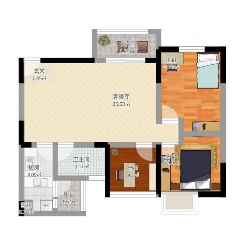 万象凯旋湾3室2厅1卫1厨89.00㎡户型图
