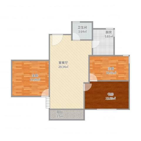 恒骏花园3室2厅1卫1厨107.00㎡户型图