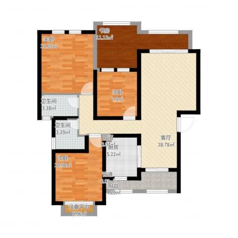 尼盛西城4室1厅2卫1厨132.00㎡户型图