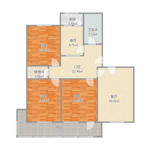 闵子骞路单位宿舍3室2厅1卫1厨144.00㎡户型图