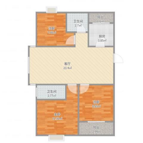 官任小区3室1厅2卫1厨89.00㎡户型图