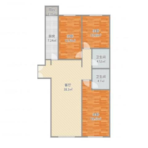 官任小区3室1厅2卫1厨134.00㎡户型图