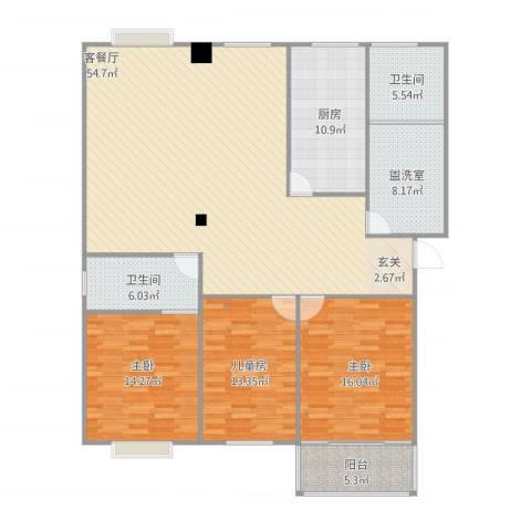 福立花园3室4厅2卫1厨179.00㎡户型图