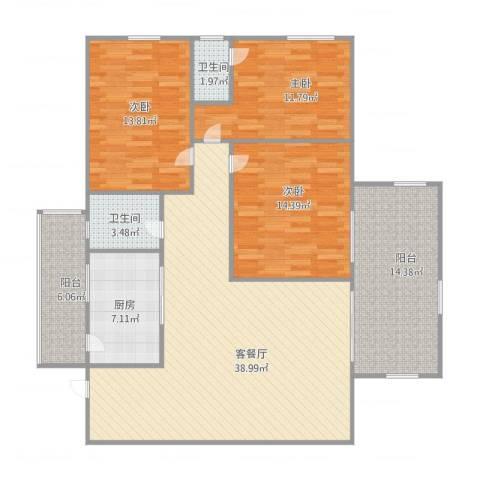 御景城市花园2033室2厅2卫1厨150.00㎡户型图