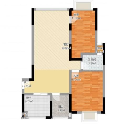 山水花都2室1厅1卫1厨104.00㎡户型图