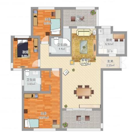 金地国际花园3室2厅2卫1厨151.00㎡户型图