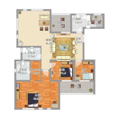 金地国际花园3室2厅2卫1厨178.00㎡户型图