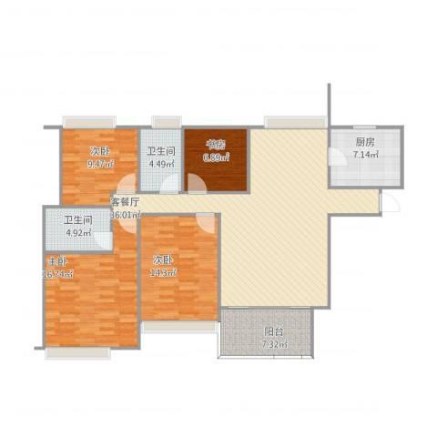 无锡海岸城.郦园4室2厅2卫1厨144.00㎡户型图