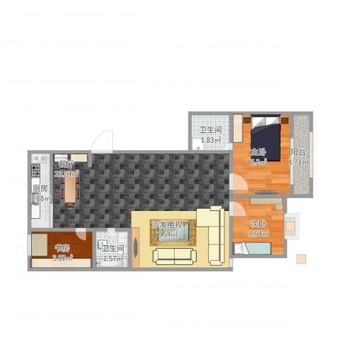 和泰花园3室1厅2卫1厨60.00㎡户型图