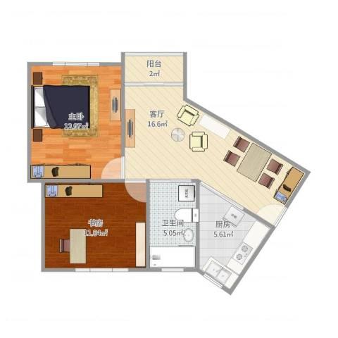 东湖小区2室1厅1卫1厨72.00㎡户型图