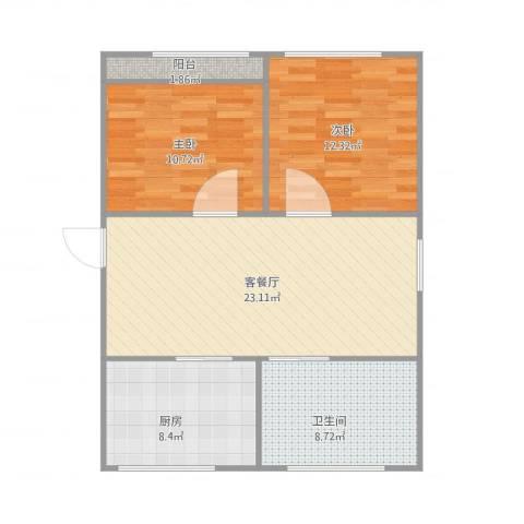 富特五村2室2厅1卫1厨88.00㎡户型图