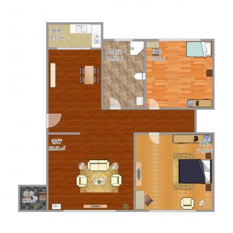 东城天下2室1厅1卫1厨143.00㎡户型图