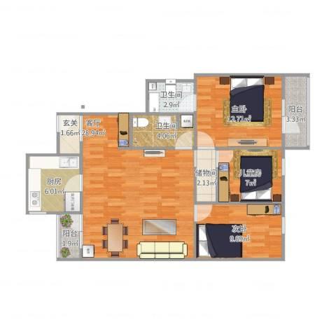 阜光里小区3室1厅2卫1厨111.00㎡户型图