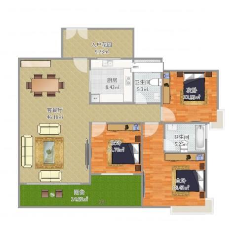 中海万锦豪园3室2厅2卫1厨176.00㎡户型图