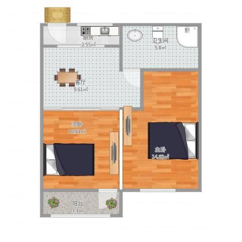 莲花公寓(普陀)2室1厅1卫1厨50.73㎡户型图