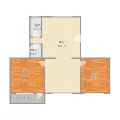 官任小区2室1厅1卫1厨94.00㎡户型图