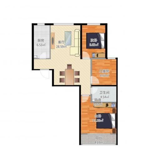 航天城小区3室1厅2卫1厨105.00㎡户型图