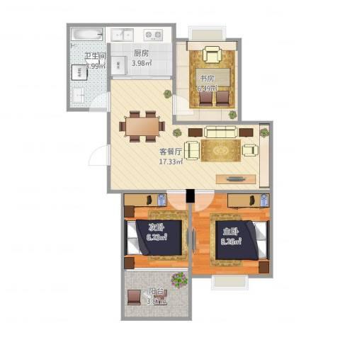 文府佳苑3室2厅1卫1厨69.00㎡户型图