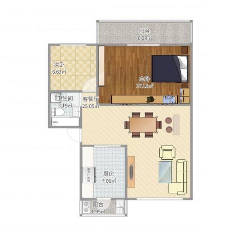 天水丽园2室2厅1卫1厨91.00㎡户型图