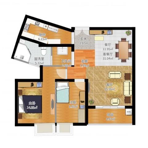 云河湾2室4厅1卫1厨104.00㎡户型图
