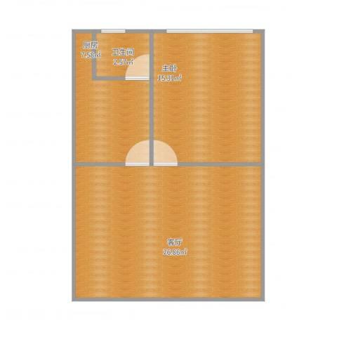 江滨大厦1室1厅1卫1厨55.77㎡户型图