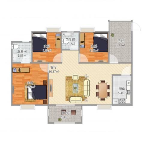 绿湖爱伦堡3室1厅2卫1厨120.00㎡户型图
