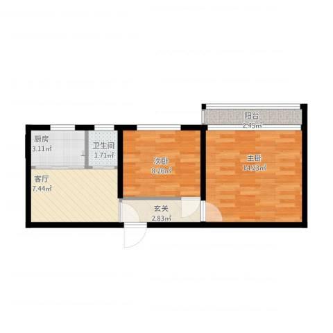 永乐西区2室1厅1卫1厨58.00㎡户型图