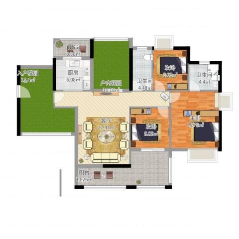 鑫月城3室2厅3卫1厨166.00㎡户型图