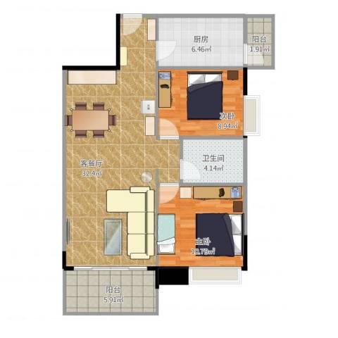 保利西子湾2室2厅1卫1厨96.00㎡户型图