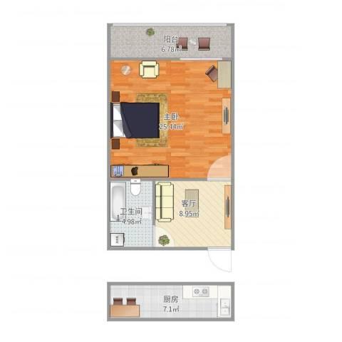 解放新村1室1厅1卫1厨72.00㎡户型图