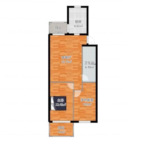 北苑家园紫绶园1室2厅1卫1厨92.00㎡户型图