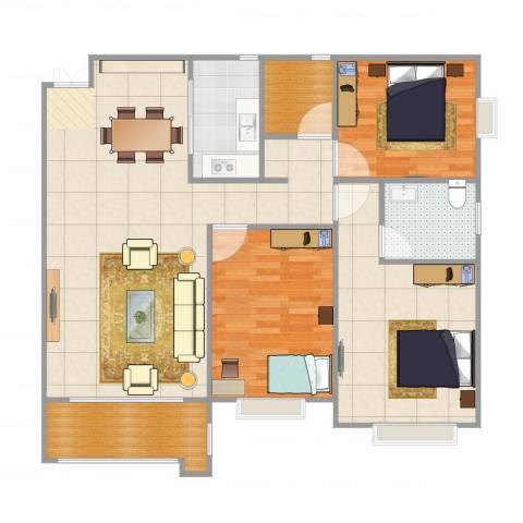 大唐世家3室1厅3卫1厨117.00㎡户型图