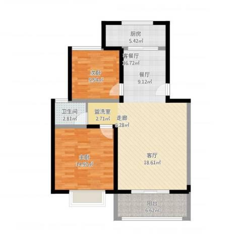 金海岸花园2室2厅1卫1厨108.00㎡户型图